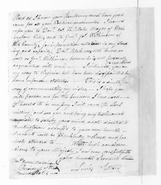 Lewis Sutton to James Madison, March 17, 1816.