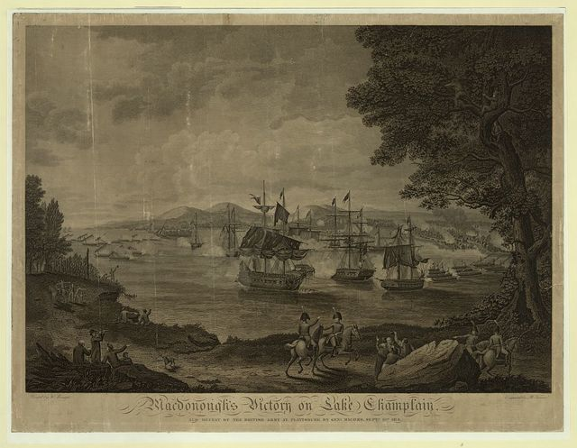 Macdonough's victory on Lake Champlain and defeat of the British Army at Plattsburg by Genl. Macomb, Sept. 17th 1814 / painted by H. Reinagle ; engraved by B. Tanner.