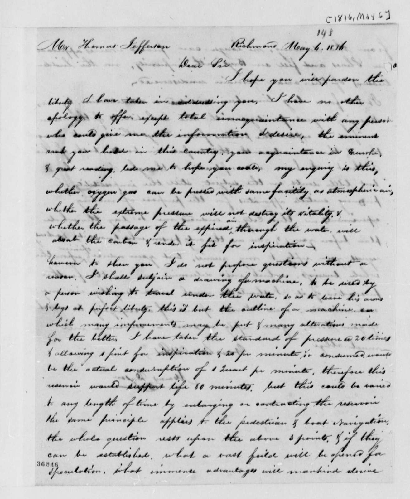 Marcus Dyson to Thomas Jefferson, May 6, 1816, with Explanation of Underwater Breathing Apparatus