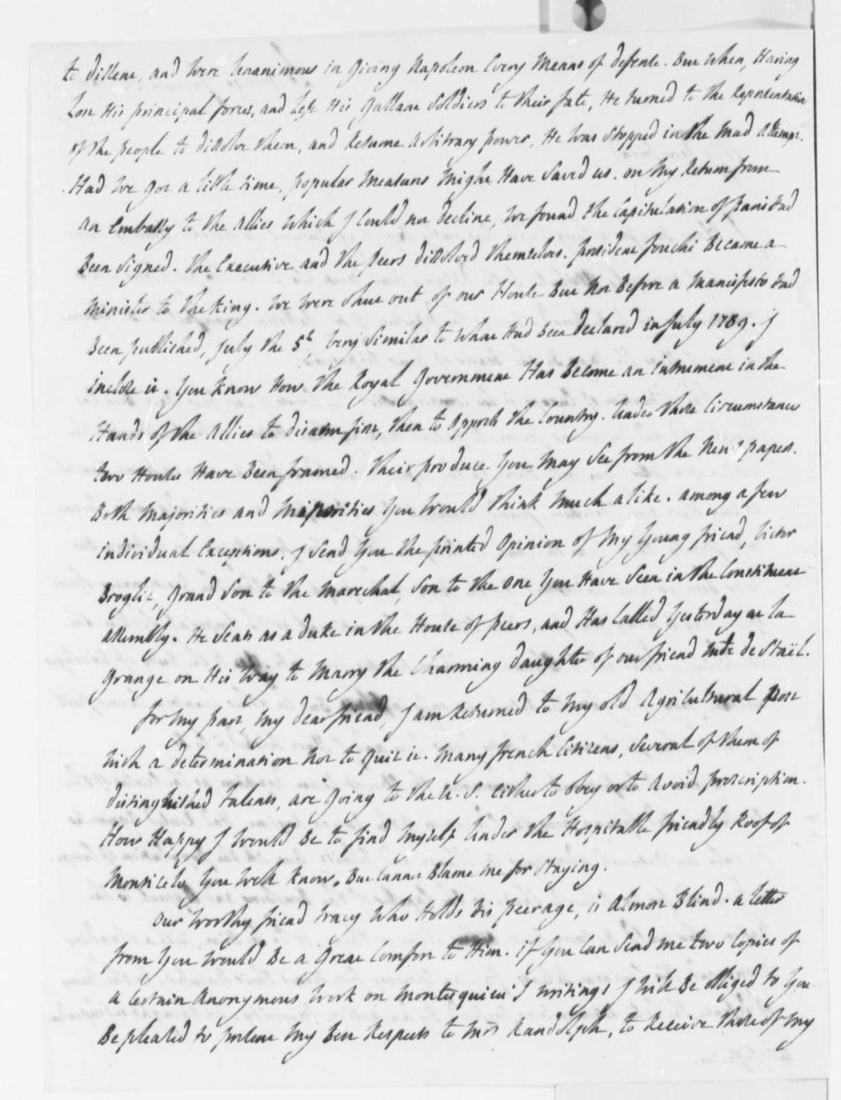 Marie Joseph Paul Yves Roch Gilbert du Motier, Marquis de Lafayette to Thomas Jefferson, January 21, 1816