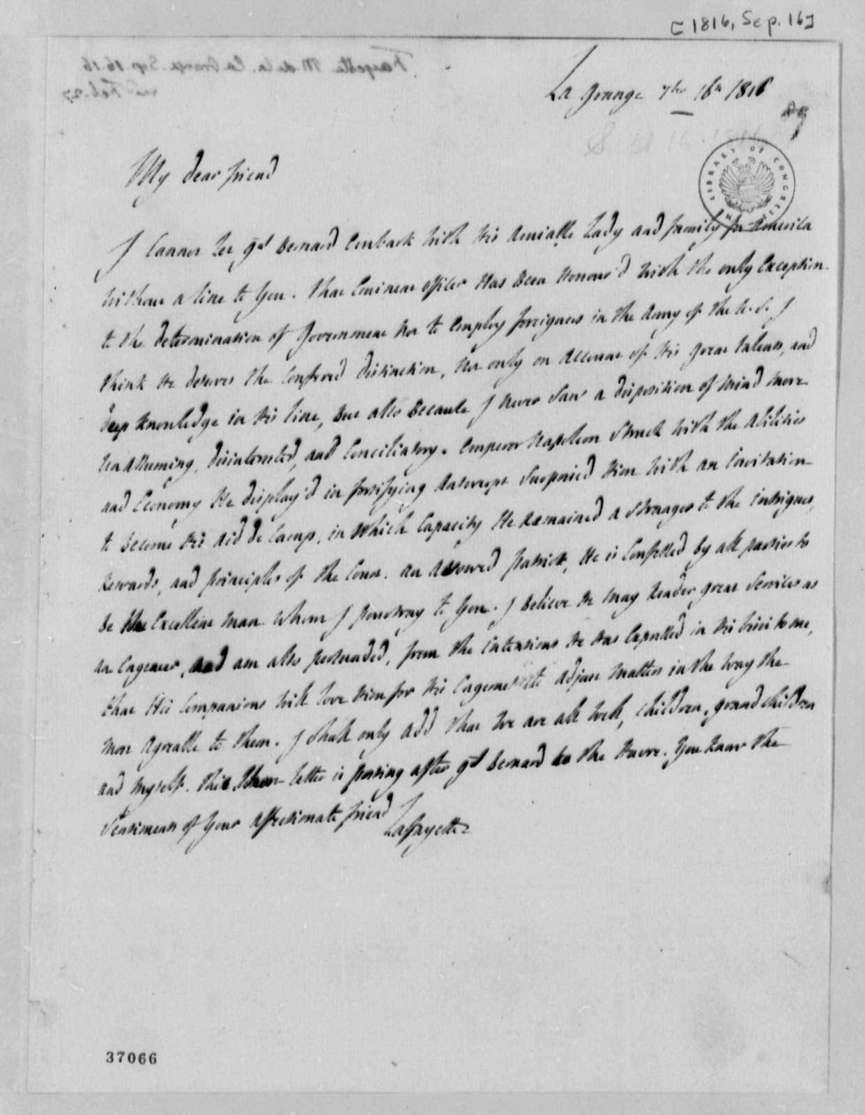 Marie Joseph Paul Yves Roch Gilbert du Motier, Marquis de Lafayette to Thomas Jefferson, September 16, 1816