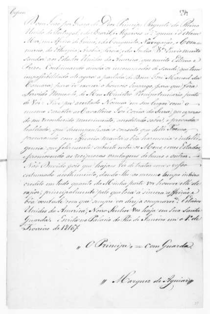 Marquis de Aguiar to James Madison, February 1, 1816. In Portugese.