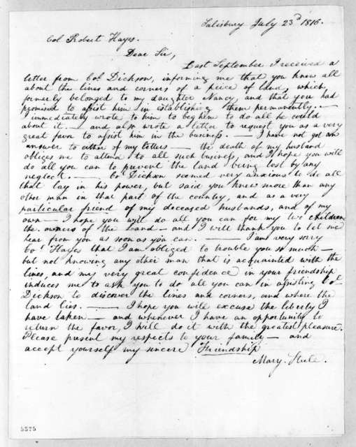 Mary Steele to Robert Hays, July 23, 1816