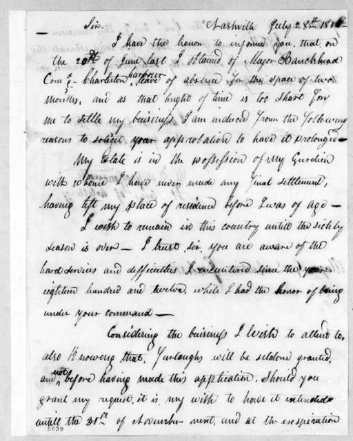 Mathew F. Degraffenried to Andrew Jackson, July 28, 1816