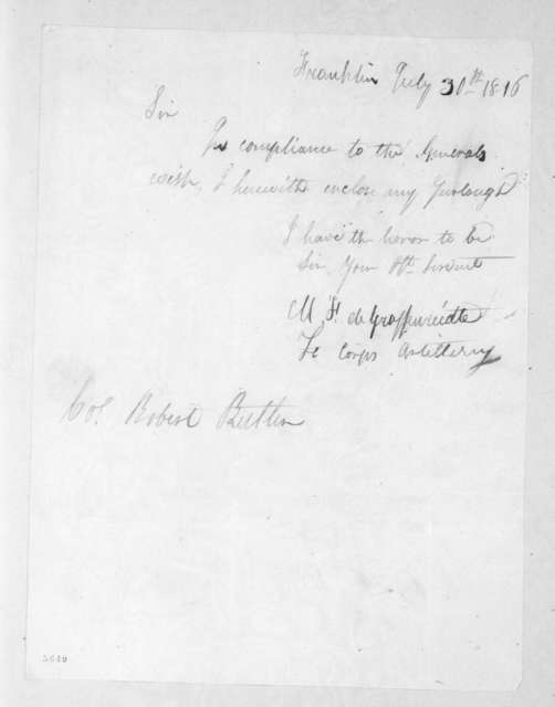 Mathew F. Degraffenried to Robert Butler, July 30, 1816