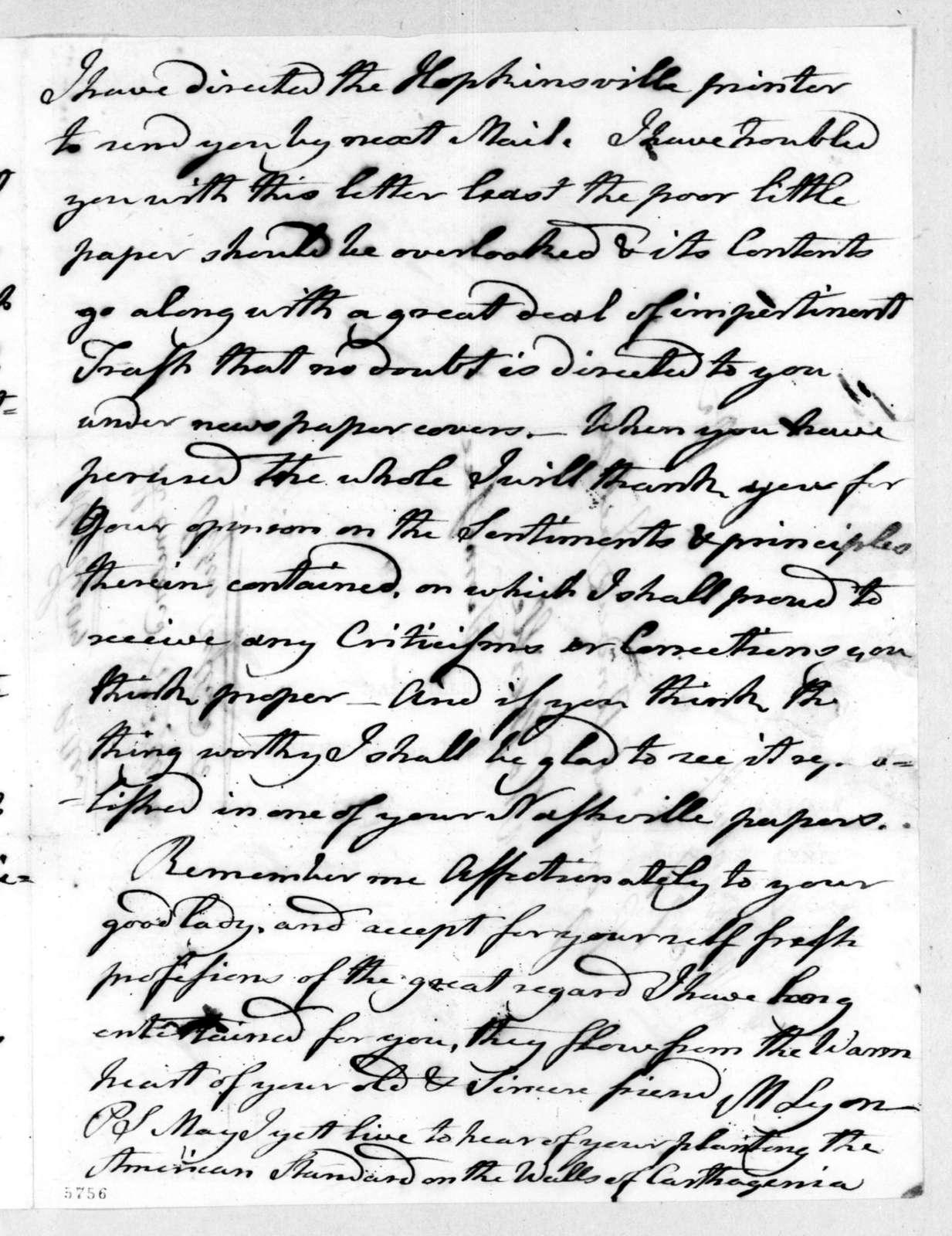 Matthew Lyon to Andrew Jackson, August 26, 1816