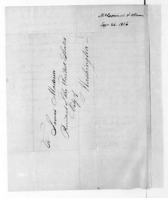 Matthew McConnell to James Madison, September 26, 1816. Committee of Revolutionary War Officers.