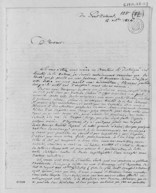 Maximilian Godefroi to Thomas Jefferson, October 12, 1816, in French