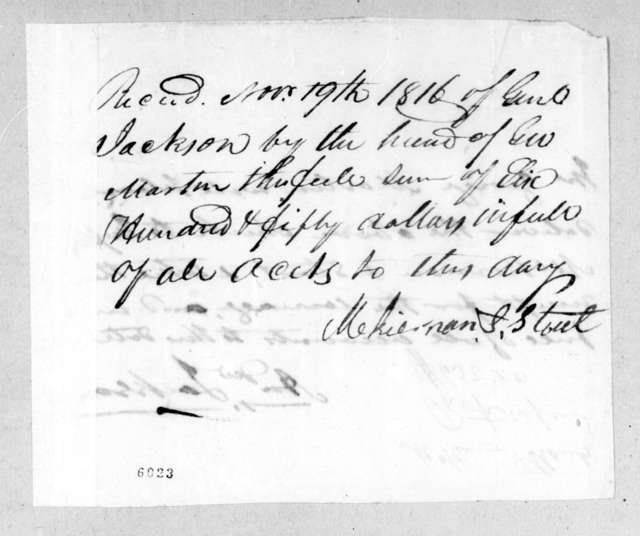 McKiernan & Stout to Andrew Jackson, November 19, 1816