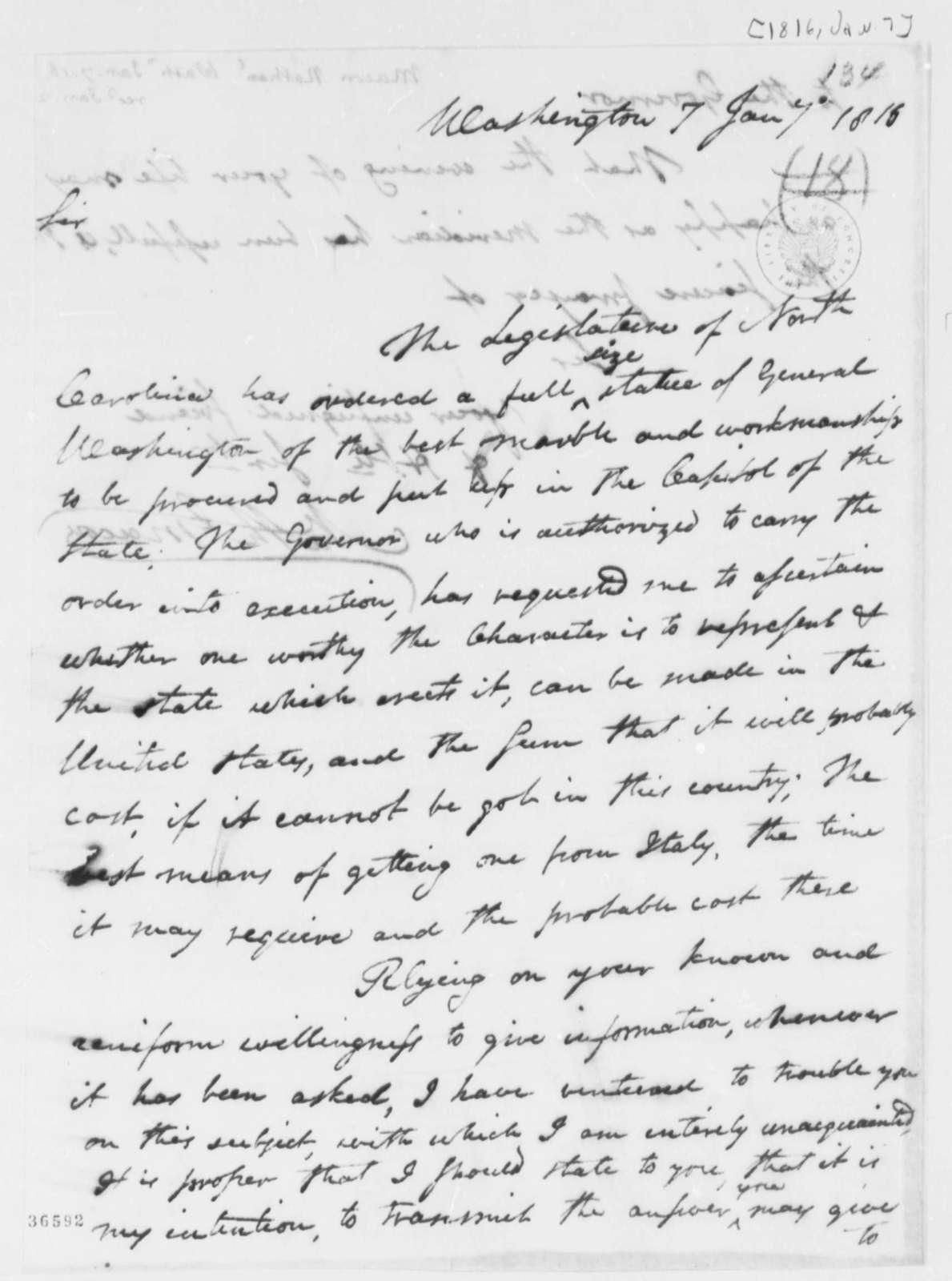 Nathaniel Macon to Thomas Jefferson, January 7, 1816
