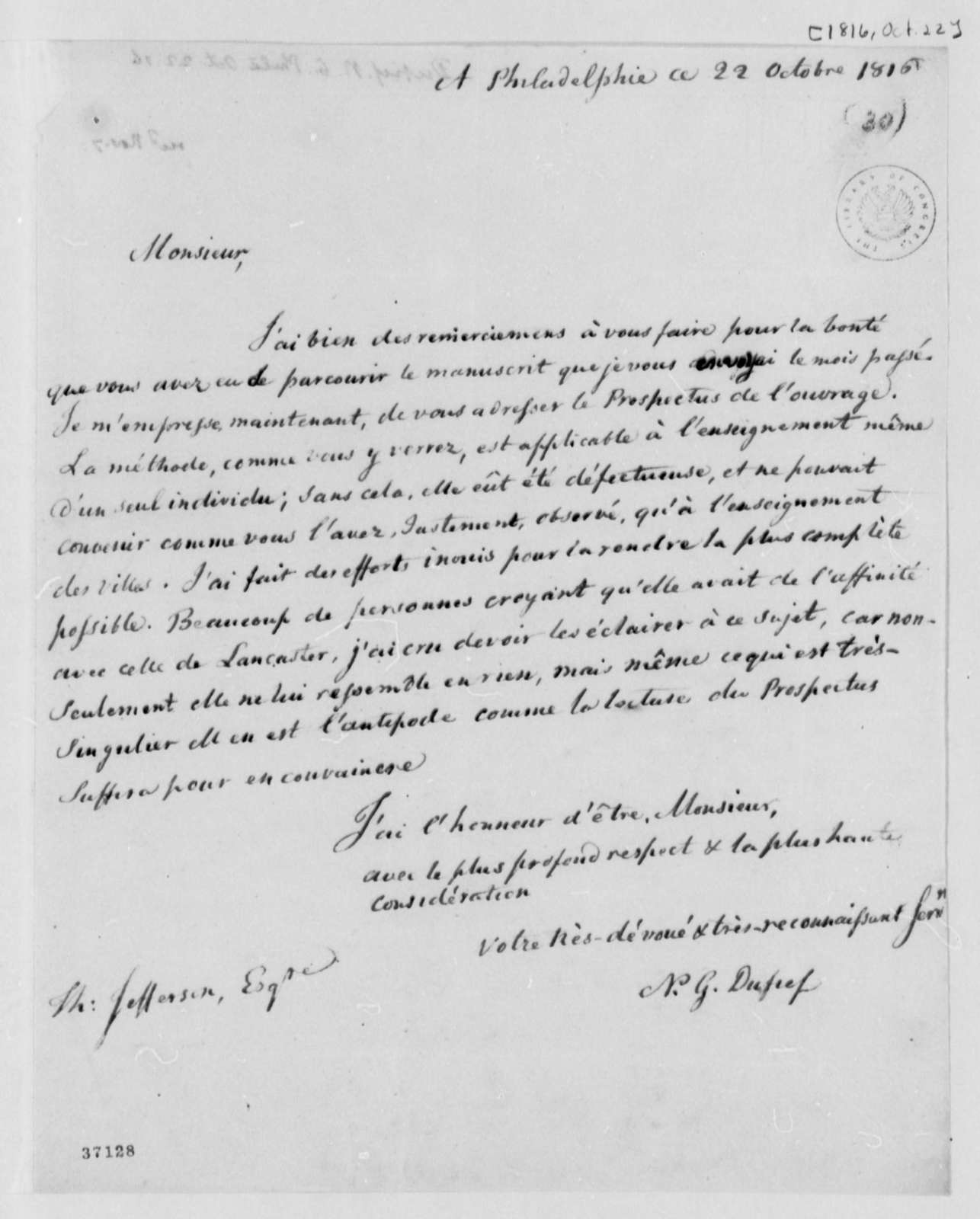 Nicholas Gouin Dufief to Joseph Milligan, October 22, 1816, in French