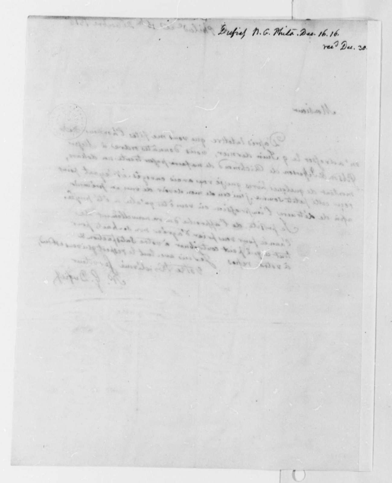 Nicholas Gouin Dufief to Thomas Jefferson, December 16, 1816, in French