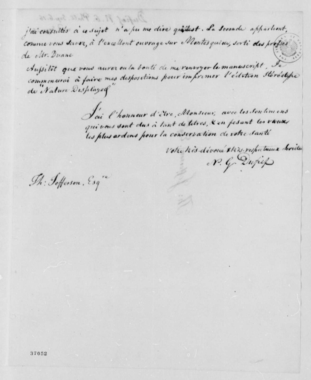 Nicholas Gouin Dufief to Thomas Jefferson, September 6, 1816, in French and English