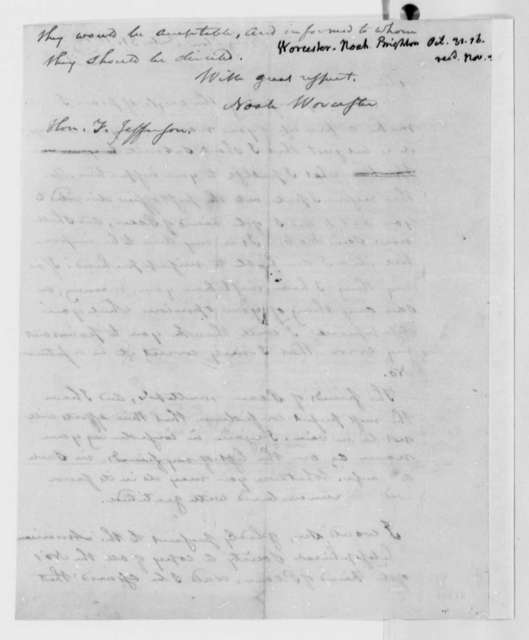 Noah Worcester to Thomas Jefferson, October 31, 1816