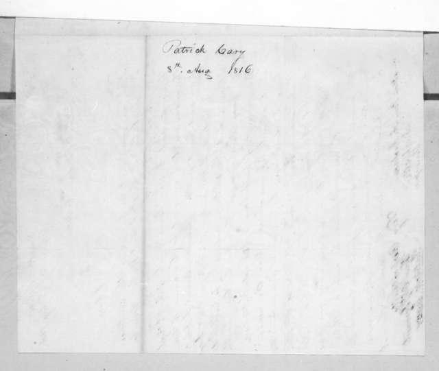 Patrick Carey to Andrew Jackson, August 8, 1816