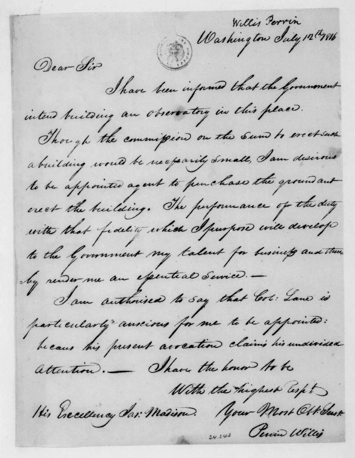 Perrin Willis to James Madison, July 12, 1816.