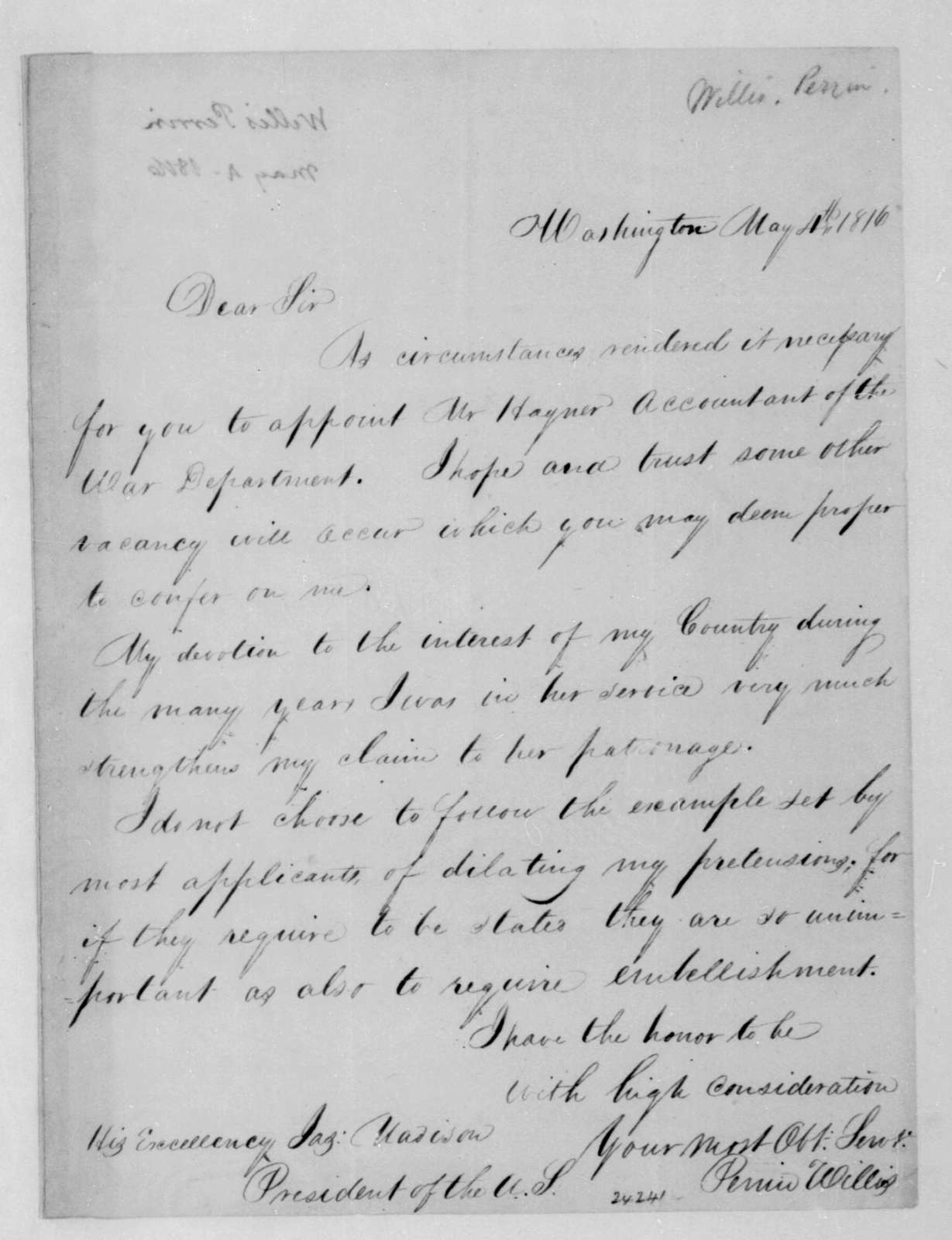 Perrin Willis to James Madison, May 4, 1816.