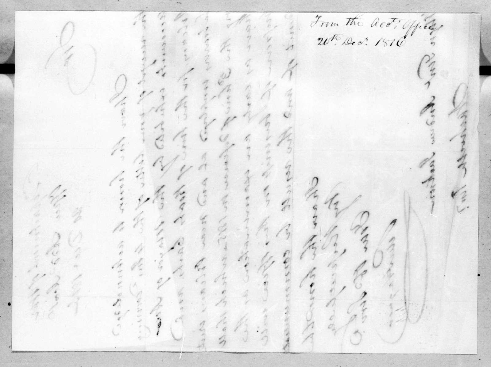Peter Hagner to Andrew Jackson, December 20, 1816