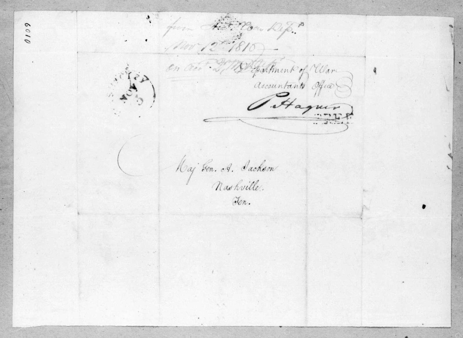 Peter Hagner to Andrew Jackson, November 12, 1816