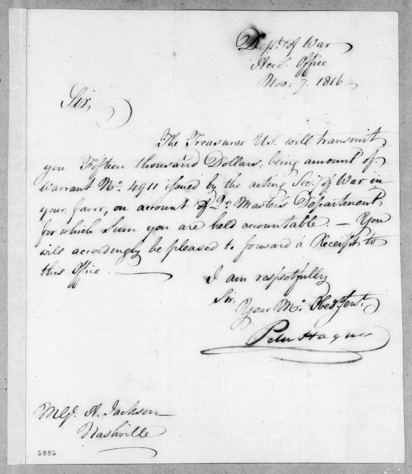 Peter Hagner to Andrew Jackson, November 7, 1816