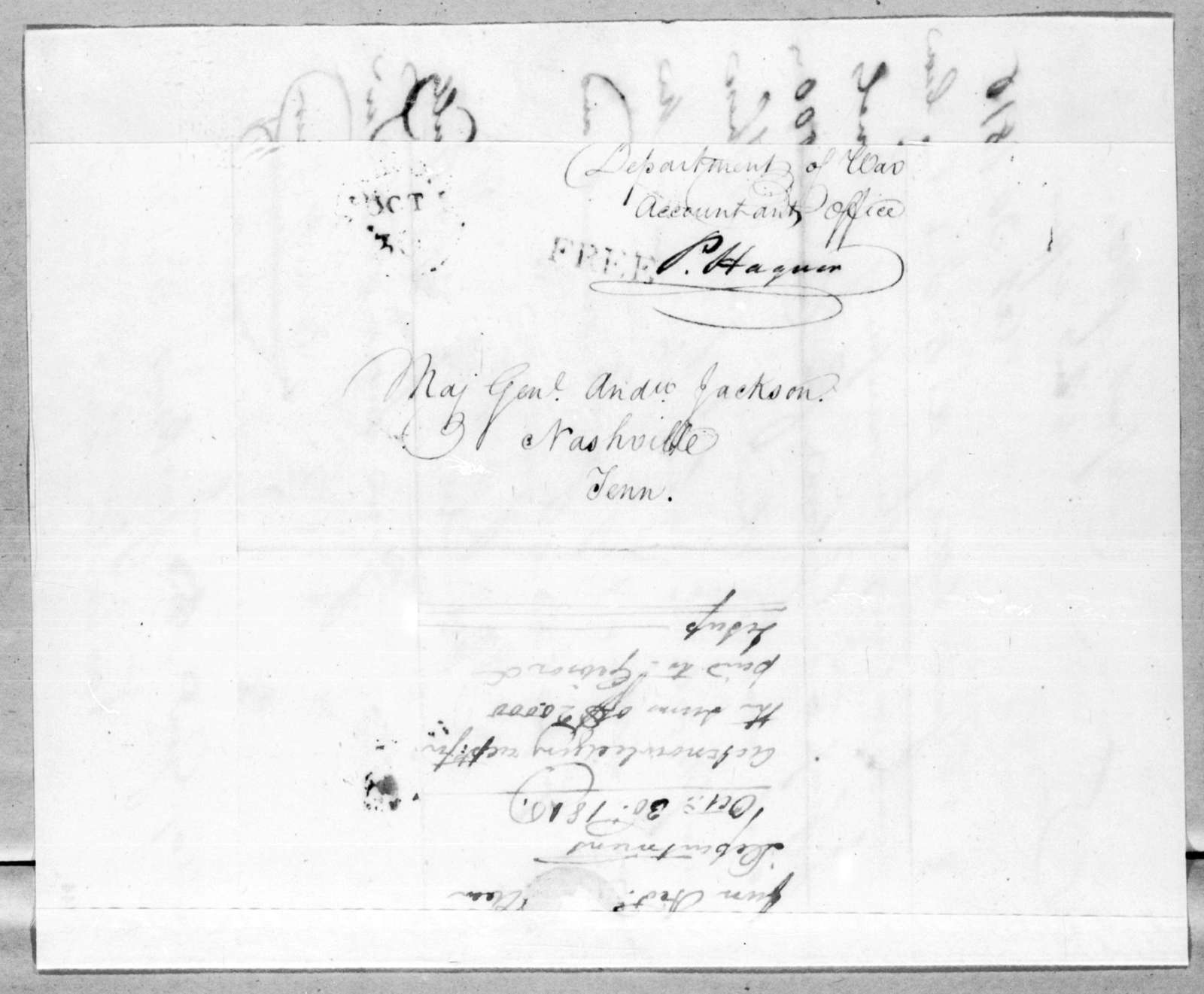 Peter Hagner to Andrew Jackson, October 30, 1816