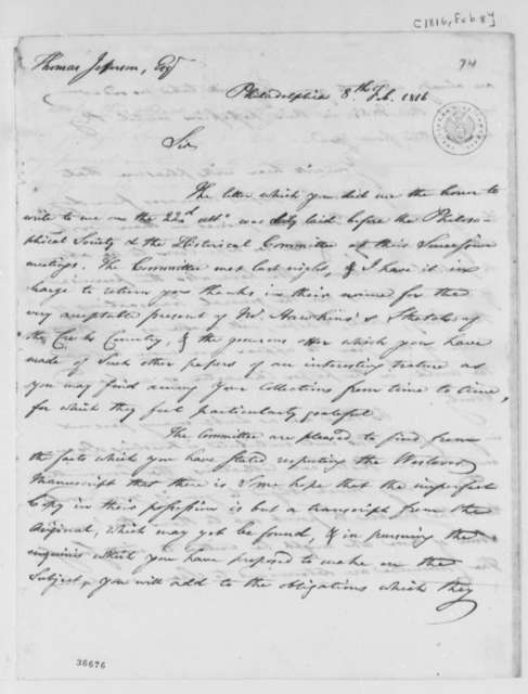 Peter S. du Ponceau to Thomas Jefferson, February 8, 1816