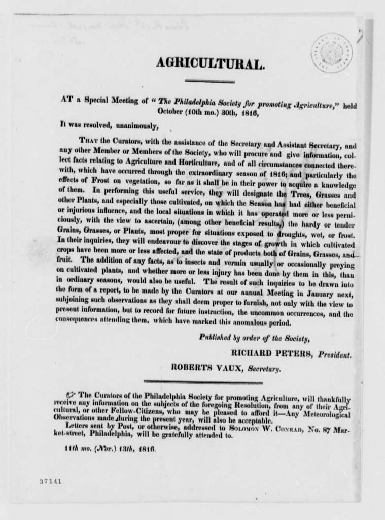 Philadelphia Society for Promoting Agriculture to Thomas Jefferson, October 30, 1816, Printed Resolutions