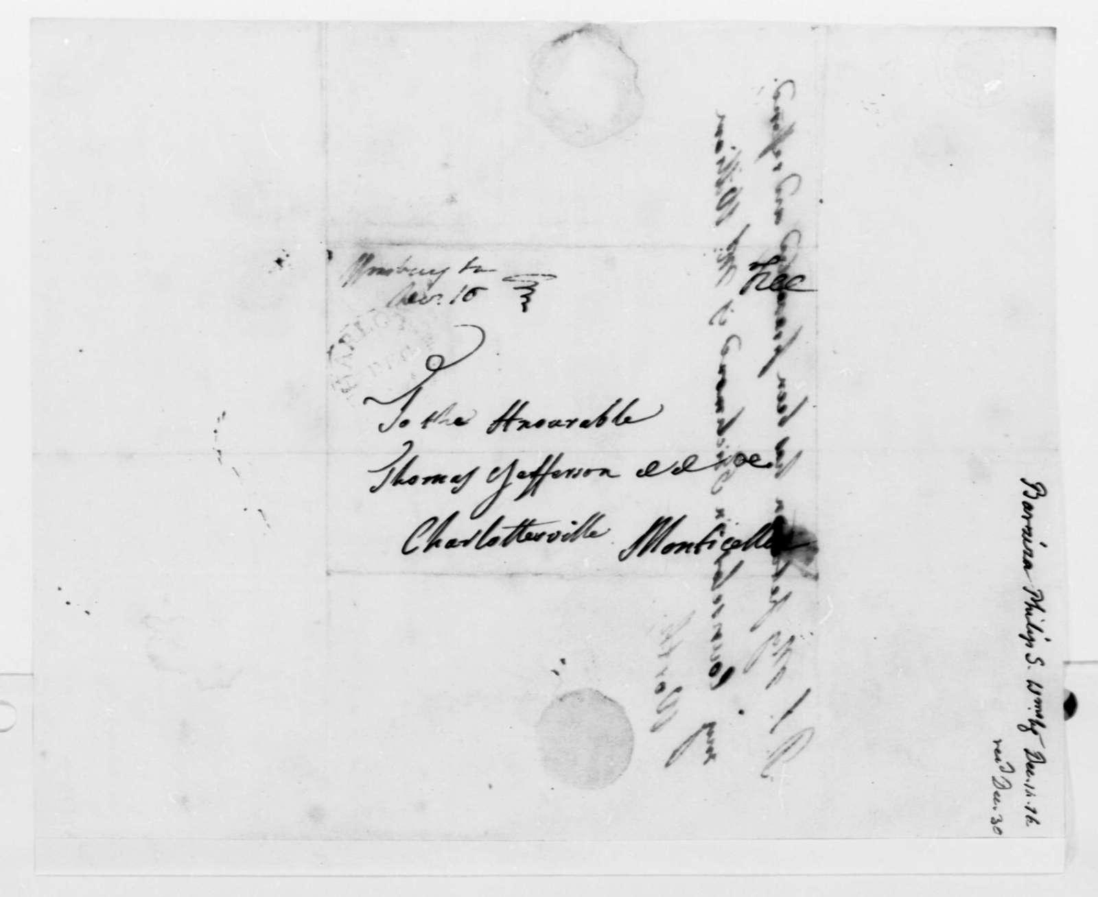 Philip Ignatius Barziza to Thomas Jefferson, December 14, 1816