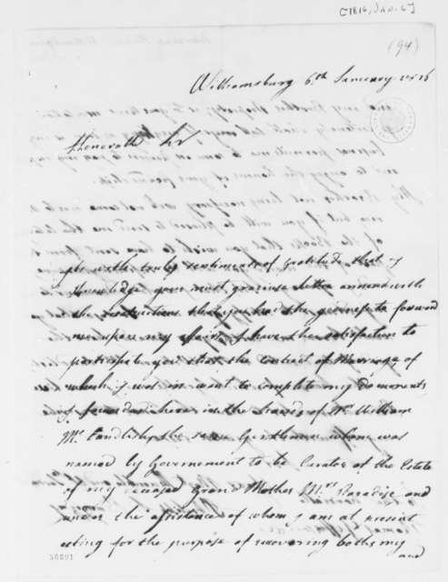 Philip Ignatius Barziza to Thomas Jefferson, January 6, 1816