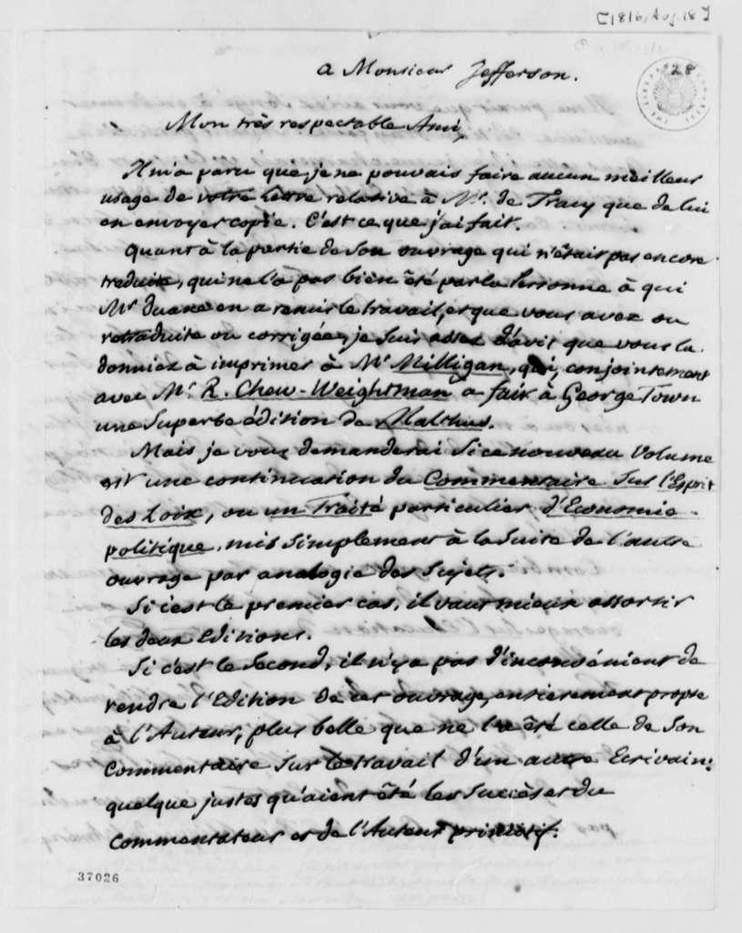 Pierre S. Dupont de Nemours to Thomas Jefferson, August 18, 1816