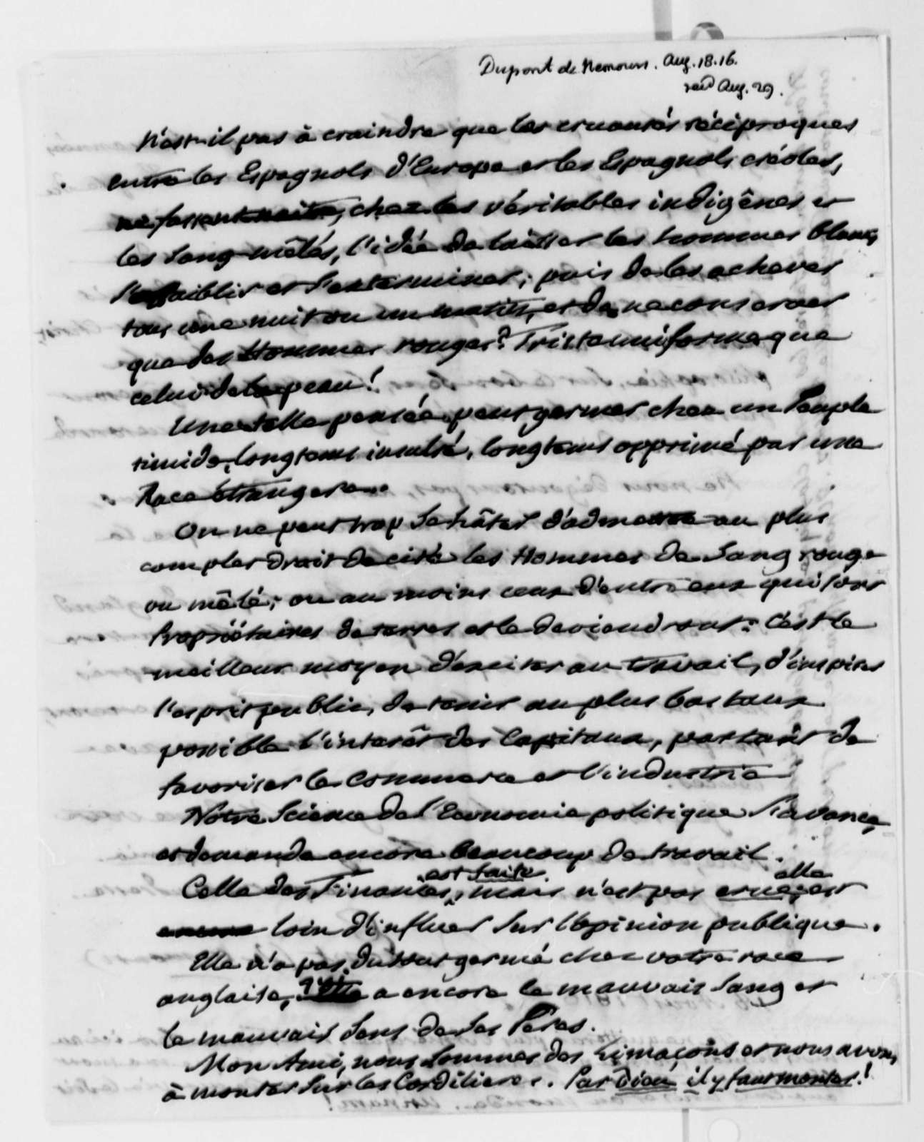 Pierre S. Dupont de Nemours to Thomas Jefferson, August 18, 1816