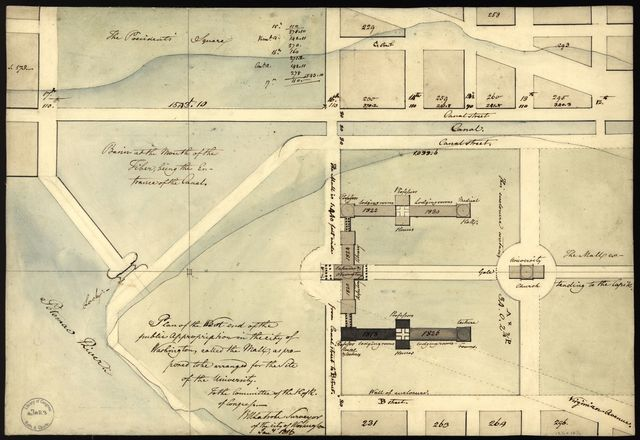 Plan of the west end of the public appropriation in the city of Washington, called the Mall : as proposed to be arranged for the site of the university /