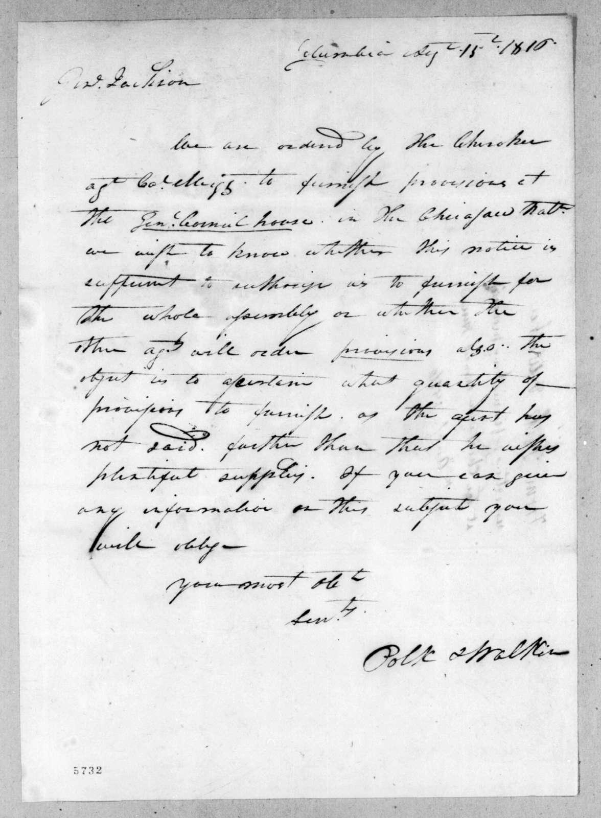 Polk & Walker to Andrew Jackson, August 15, 1816