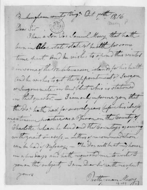 Prettyman Merry to James Madison, October 17, 1816.