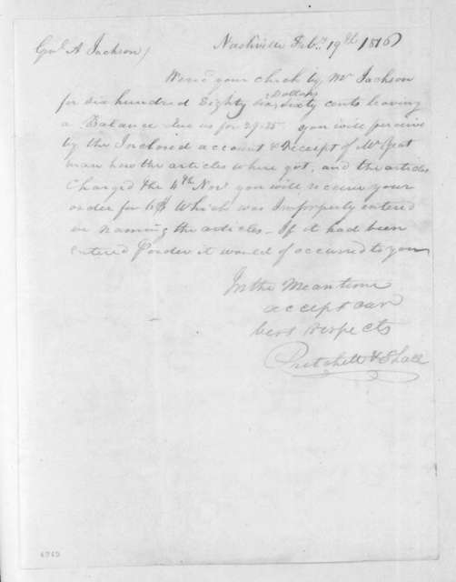 Pritchett & Shall to Andrew Jackson, February 19, 1816