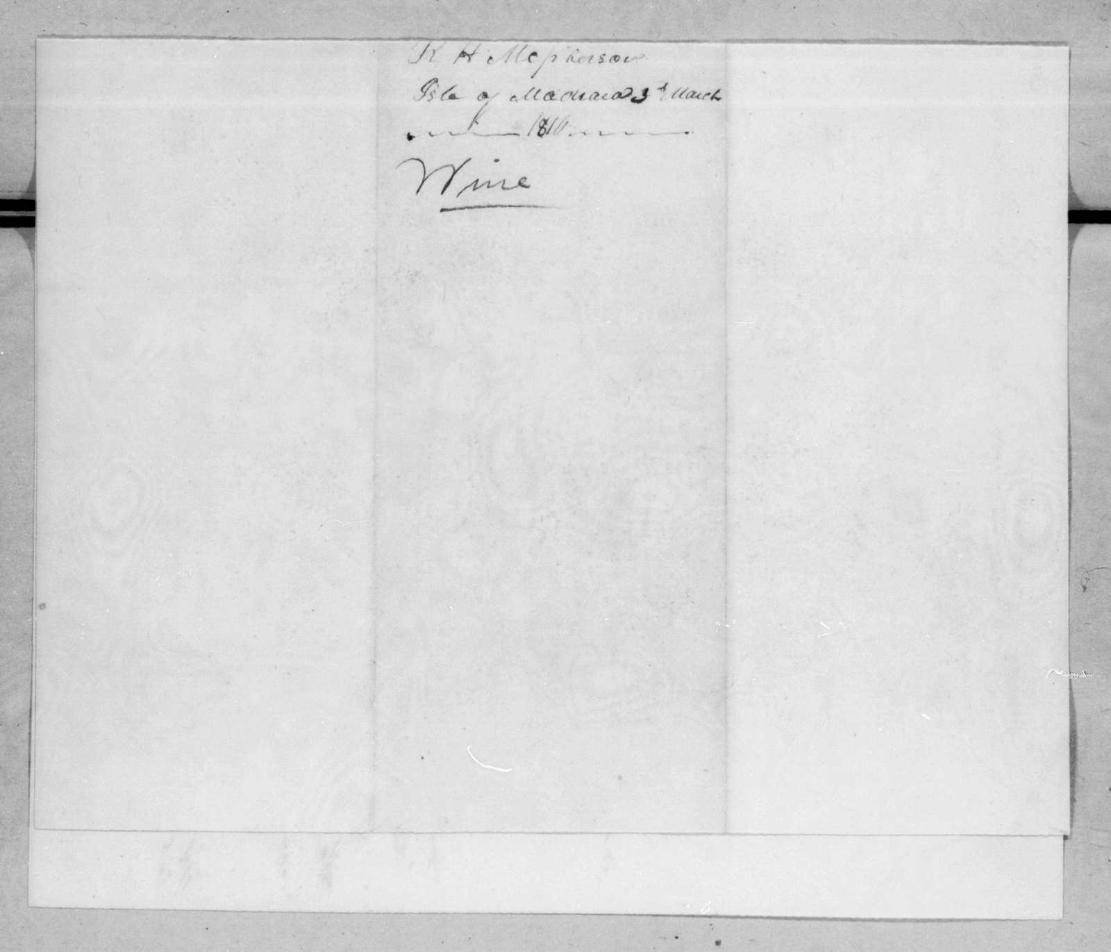 R. H. Macpherson to Andrew Jackson, March 3, 1816