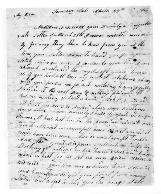 Rachel Jackson to Sophia Reade, April 27, 1816