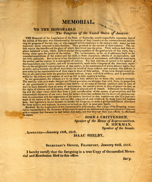 Resolution from Kentucky's congress regarding payments to the widows and orphans of War of 1812 soldiers