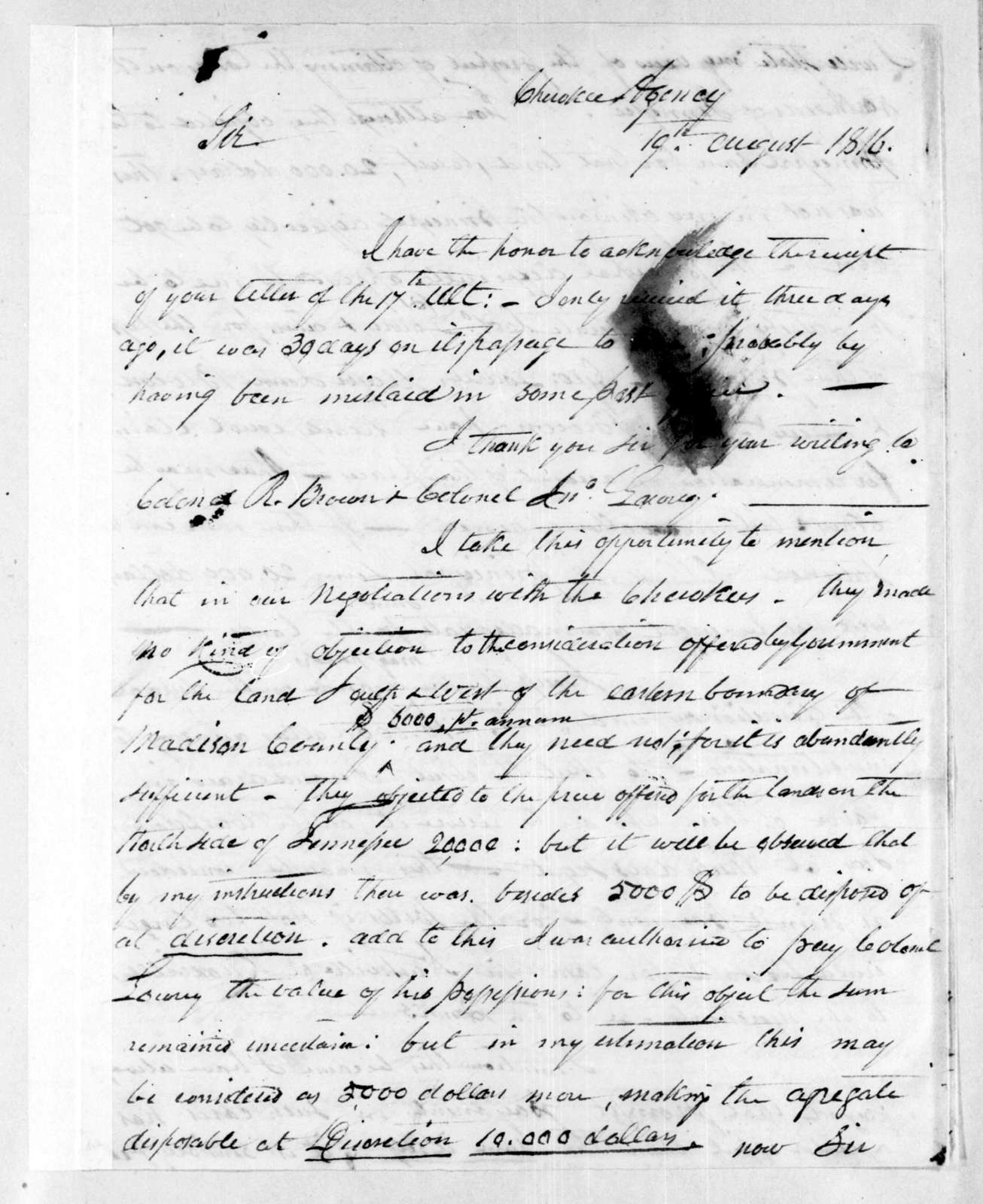 Return Jonathan Meigs to Andrew Jackson, August 19, 1816