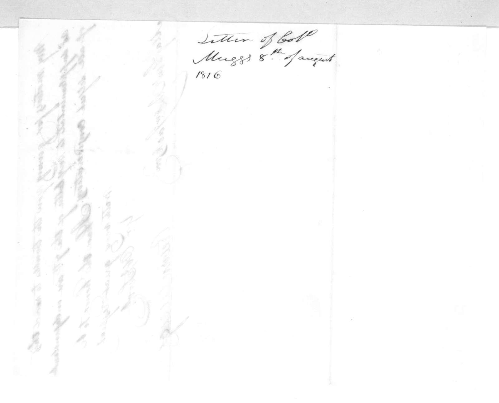 Return Jonathan Meigs to Andrew Jackson, August 8, 1816