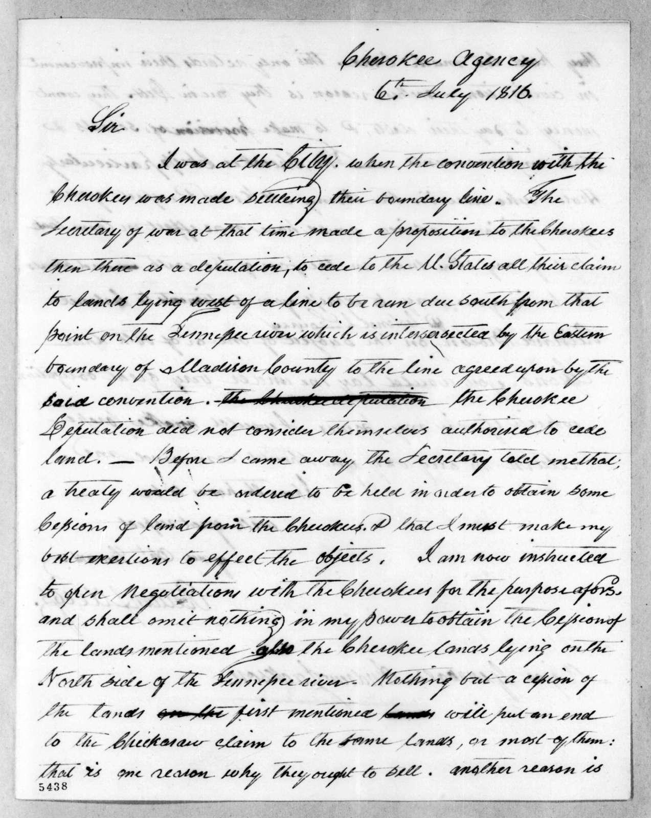 Return Jonathan Meigs to Andrew Jackson, July 6, 1816
