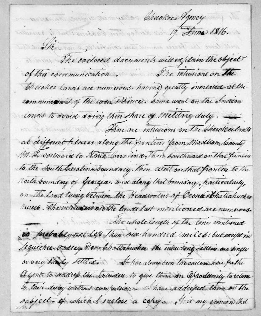 Return Jonathan Meigs to Andrew Jackson, June 17, 1816