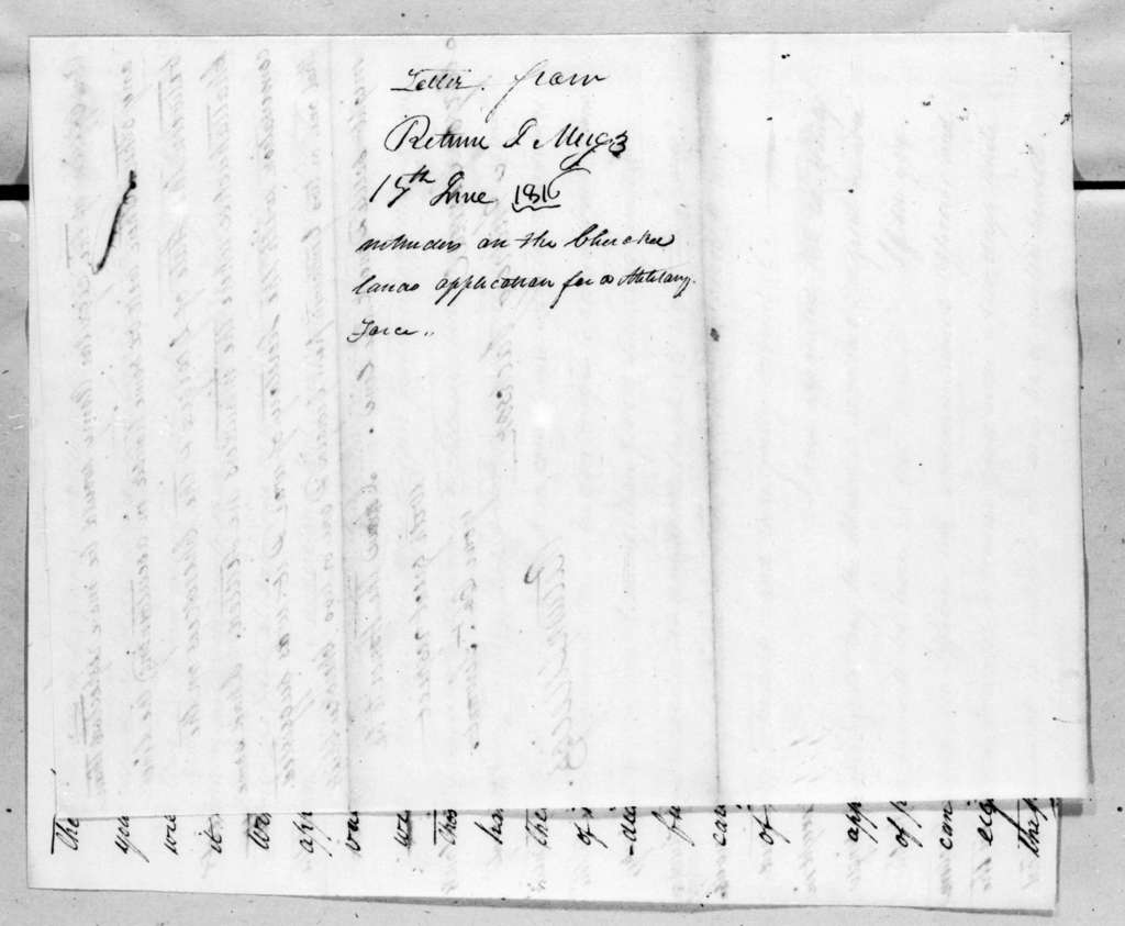 Return Jonathan Meigs to Andrew Jackson, June 17, 1816