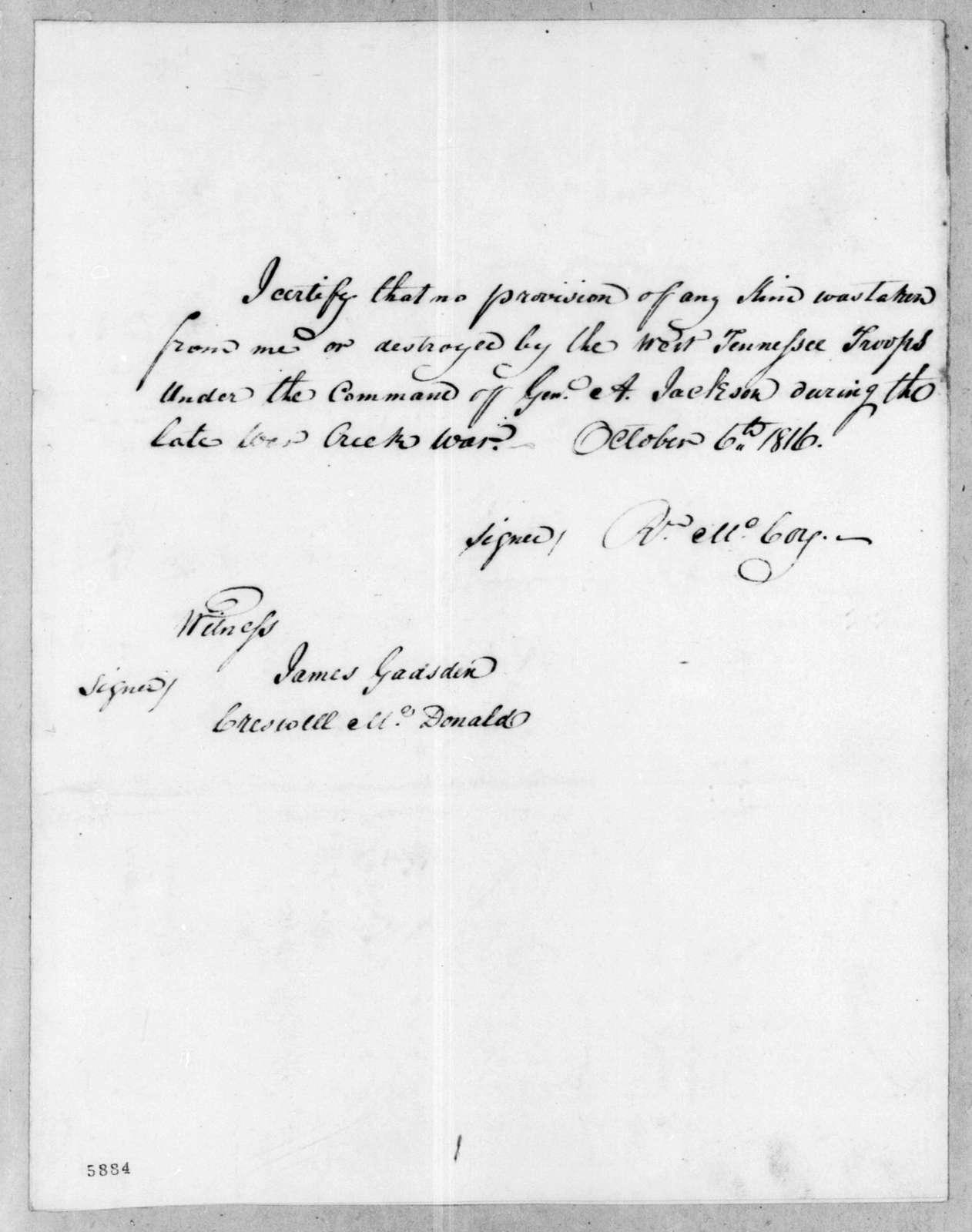 Reuben McCoy, October 6, 1816
