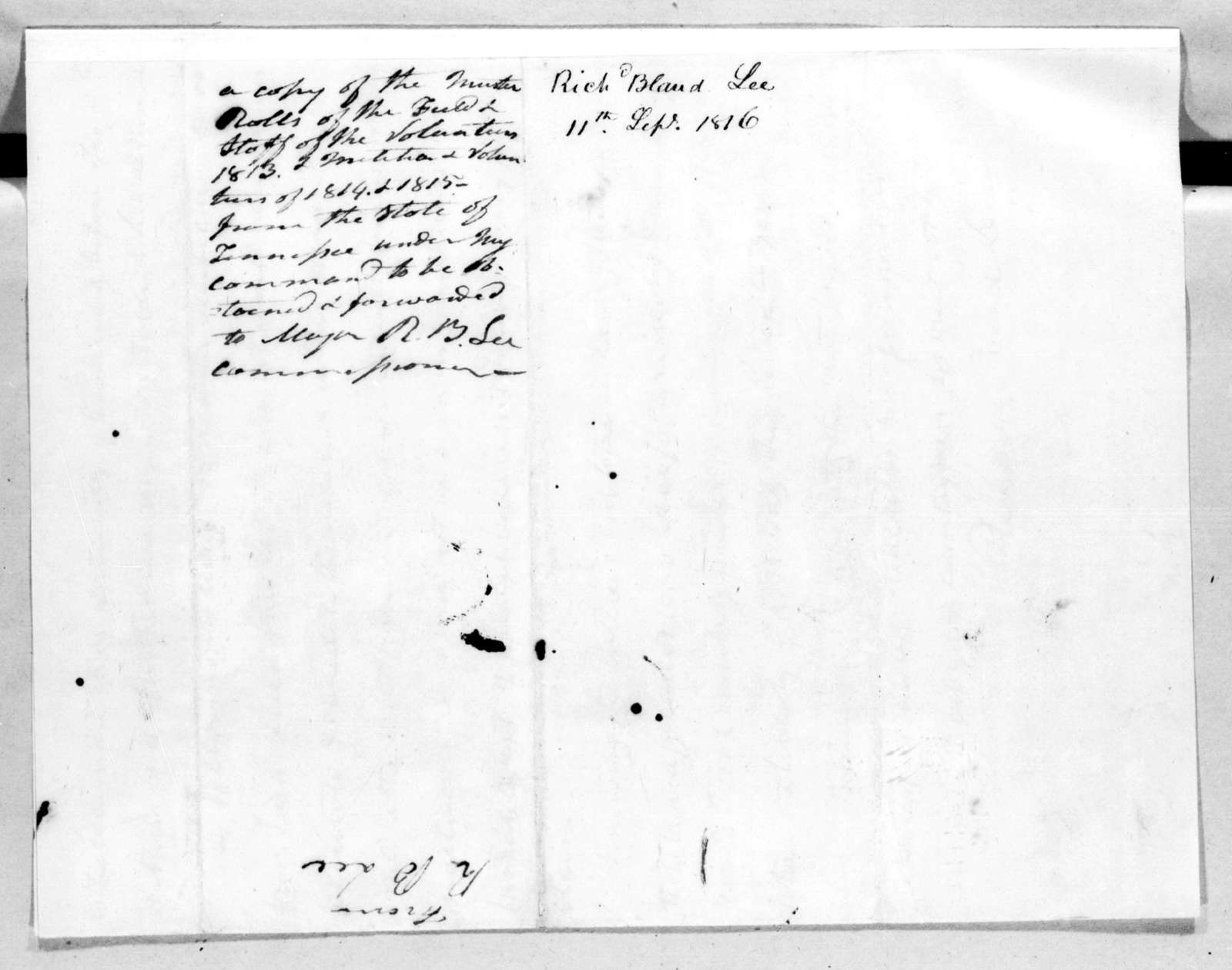 Richard Bland Lee to Andrew Jackson, September 11, 1816