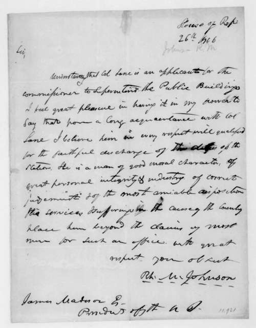 Richard M. Johnson to James Madison. 1816.