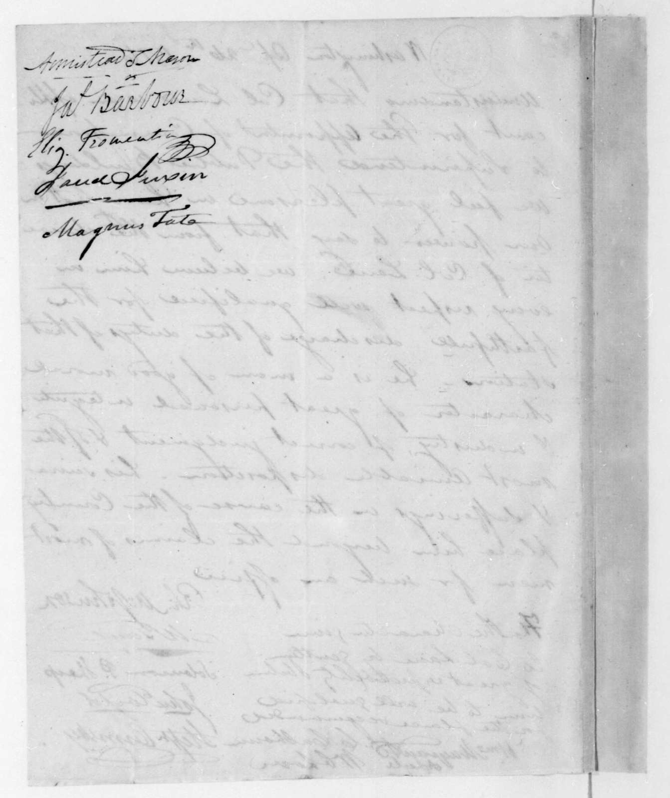 Richard M. Johnson to James Madison, April 26, 1816. Recommendation of Lane.