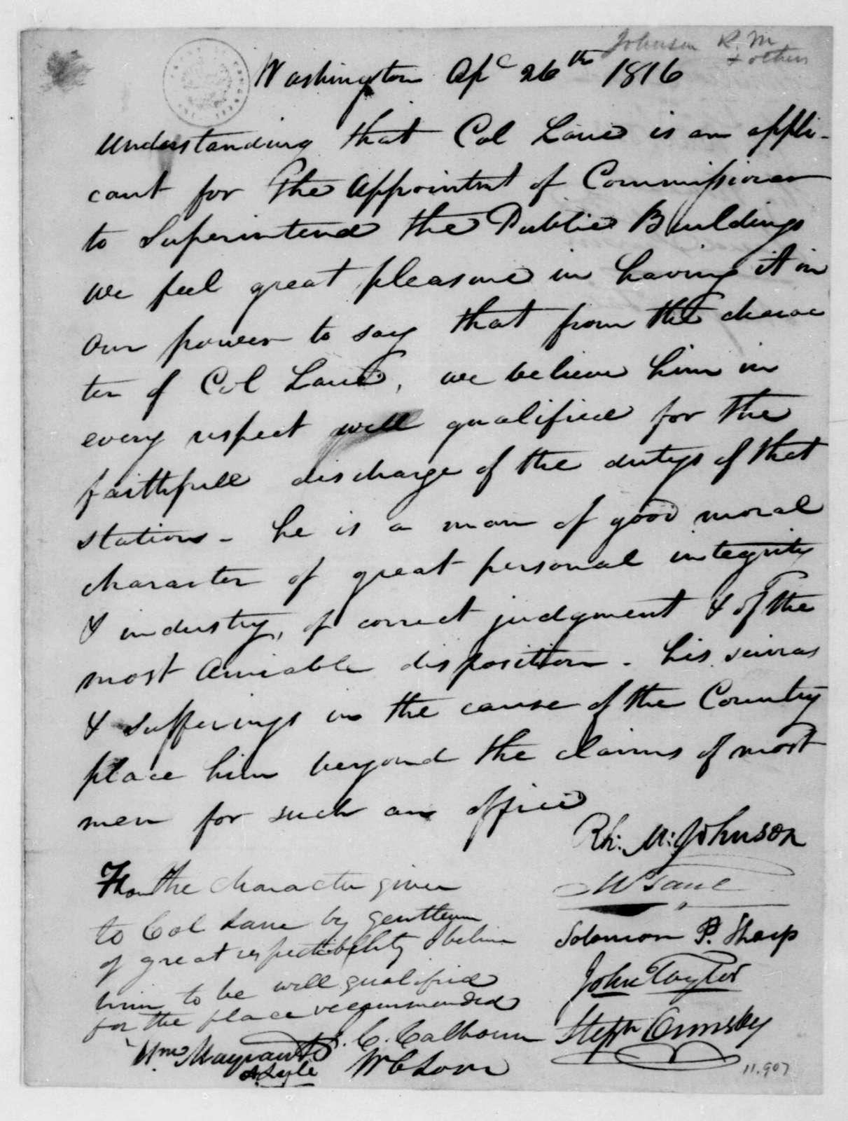 Richard M. Johnson to James Madison, April 26, 1816. Recommendation of Lane.