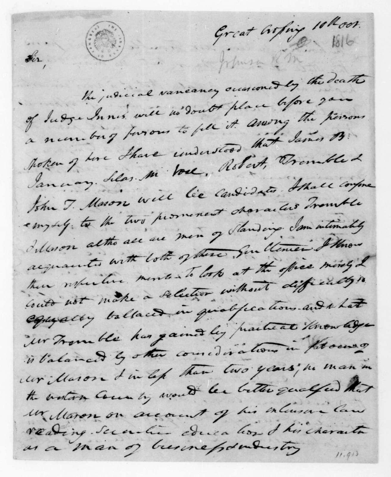 Richard M. Johnson to James Madison, October 10, 1816.