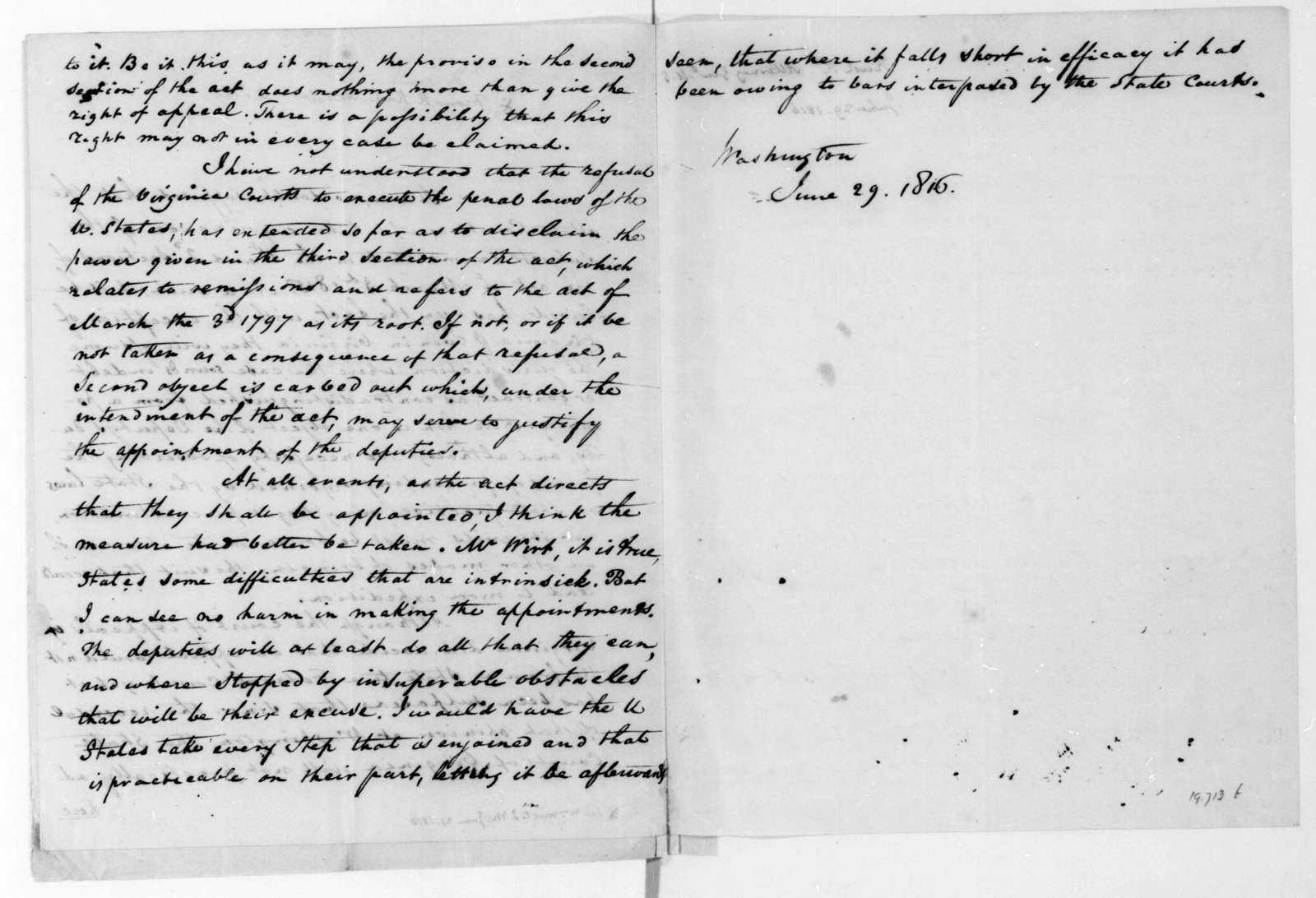 Richard Rush to James Madison, June 29, 1816. Includes another letter dated the same day.